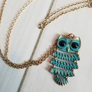 Jewelry - Owl Necklace With Long Gold Toned Chain